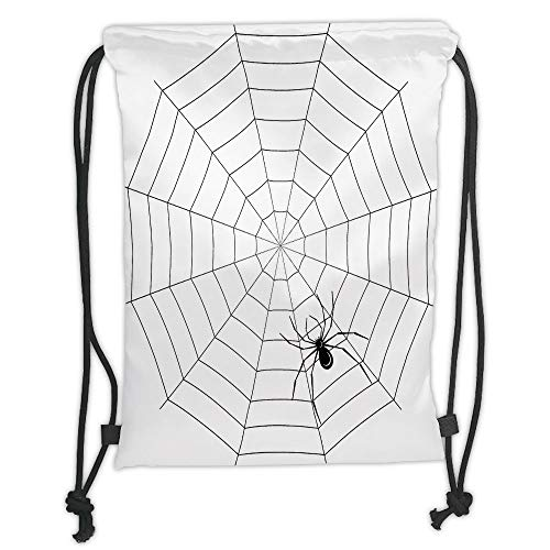 nted Drawstring Sack Backpacks Bags,Spider Web,Toxic Poisonous Insect Thread Crawly Malicious Bug Halloween Character Design Decorative,Black White Soft Satinr ()