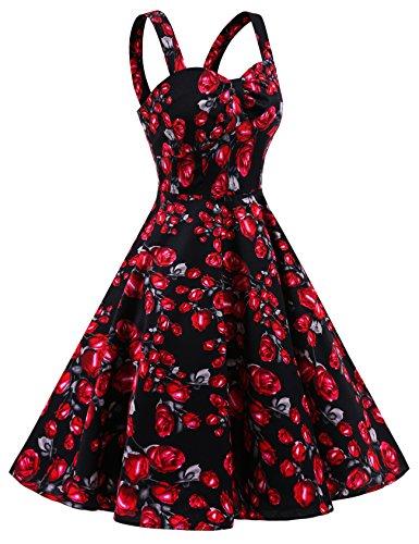 Dresstells Schultergurt 1950er Retro Schwingen Pinup Rockabilly Kleid Faltenrock Black Rose