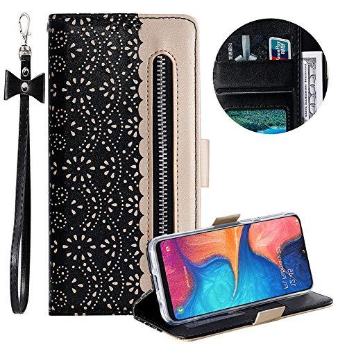 Reißverschluss Brieftasche für Samsung Galaxy A20E,Gurt Wallet Handyhülle für Samsung Galaxy A20E,Moiky Stilvoll Schwarz Spitze Blume Malerei Klappbar Stand Leder Handytasche