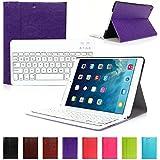 CoastCloud color morado funda Cubierta protectora cuero PU con Teclado Inalambrico QWERTY espanol para iPad air(ipad 5) con Bluetooth
