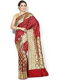 fd8ef0e7ea Banarasi Silk Works Silk Satin Saree With Blouse Piece(PTE72_Red_Free Size)