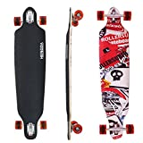 """Hengda® 41"""" Longboard Street Board Cruiserboard Skateboard 104cm Kugellager ABEC 9 Rollen 70x51mm 9-Lagen-Ahornholz(Longboard Totenkopf & Alphabet)"""
