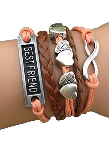 Imagen de strass & paillettes pulsera best friend corazón de salmón rosa e infinite link plateado. regalo para su amiga alternativa