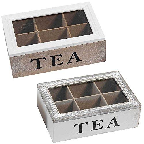 TronicXL 2 Stück Teebox Holz MDF Tee/Kaffeepad Box Tea Kiste Deko Küche Aufbewahrung Box
