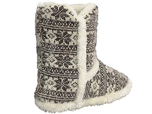 Foster Footwear Mädchen Unisex Kinder Damen Jungen Schlupfstiefel Off White/ Dk Brown