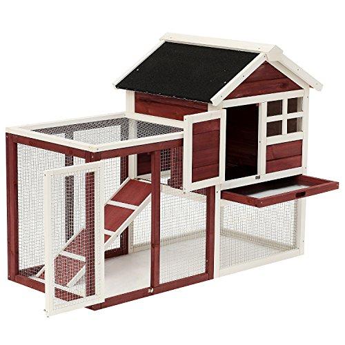 Pawhut Clapier Cage à Lapins Multi-équipé : Niche...