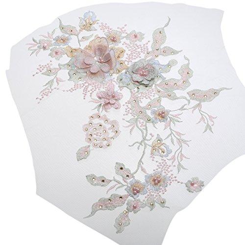 Stickerei Applikation Spitze Applique Perle Blumen Dekoration Floral Patch Hochzeit Kleid (Macaron...