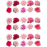 30 Gorgeous Mixed Pink Rose Flower Edible Wafer Paper Cake Toppers Decorations by Top That
