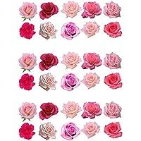 Rosas comestibles para decorar tartas, de color rosa, pack de 30