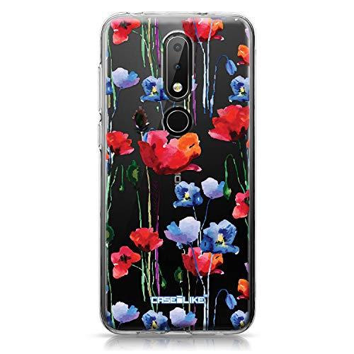 CASEiLIKE® Custodia Nokia 6.1 Plus Cover, Acquerello Floral 2234 Disegno Ultra Sottile Paraurti TPU Caso Silicone per Nokia 6.1 Plus