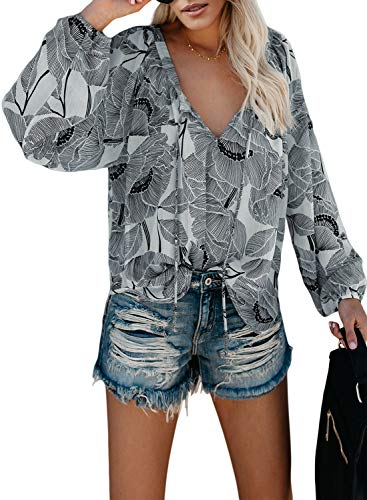FIYOTE Hemdbluse Damen Bluse Shirt Langarm Oberteile Casual Tops Weiß XL
