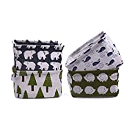 Fittolly 4 Pcs Fabric Storage Basket Organizer with Handles, Foldable Waterproof,Suit for Desktop Storage and Household Organizer 20.5x17x15cm(Whale,Polar Bear,Hedgehog,Trees
