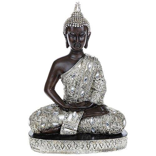 Figura decorativa de Buda sentado, 34 cm de altura, acabado plateado