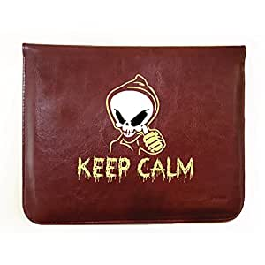 Hamee 11-Inch Tabcase Tan Brown Leather Tablet Case / Sleeve / Pouch for Samsung Galaxy Tab A Tablet - Keep Calm Skull