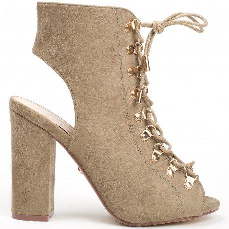 Ideal Shoes - Bottines montantes peep toe à lacets et ouvertes à l'arrière Laiza Taupe