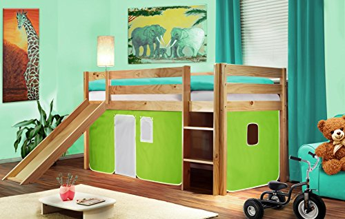 SixBros. Cama alta cama de juego con tobogán pino maciza natural/barnizado - verde/blanco - SHB/05/1033