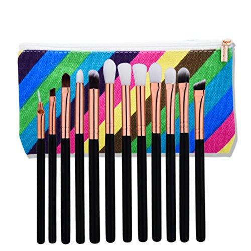 Fashion Base® professionnel 12 pcs synthétique professionnel Beauté Doré Tube Laine Cheveux Lot de pinceaux de maquillage Brosse de Maquillage pour lèvres Fard à paupières poudre Maquiagem