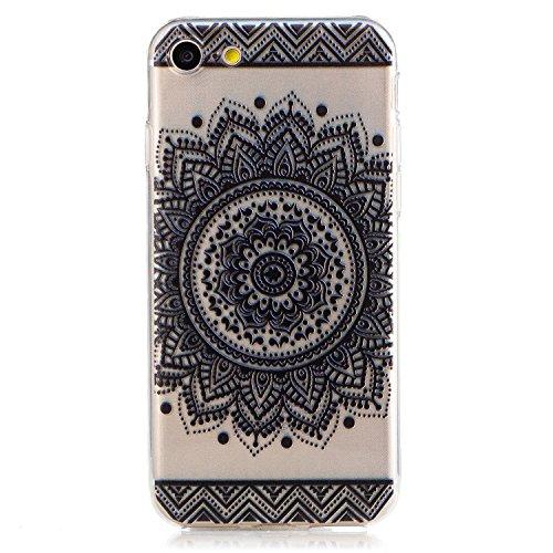 Coque iPhone 7 Housse étui-Case Transparent Liquid Crystal Mandala en TPU Silicone Clair,Protection Ultra Mince Premium,Coque Prime pour iPhone 7 (2016)-Blanc Noir