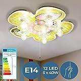 LED Blumige Kinderlampe mit Schlummerlicht - EEK: A++ bis E, 5xE14, Ø49cm - Deckenlampe, Deckenleuchte, Kinderzimmerlampe, Babylampe - für Jungenzimmer, Mädchenzimmer, Wohnzimmer, Schlafzimmer