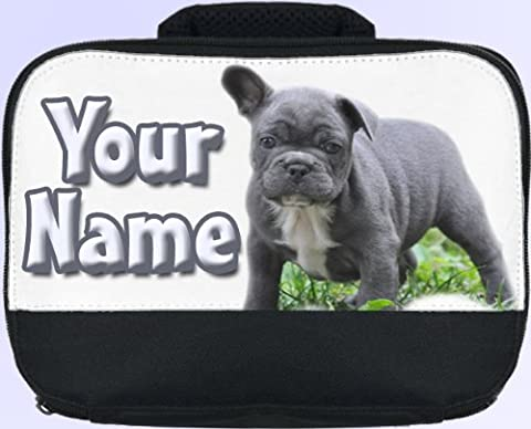 Blue French Bulldog Personalised Children's School Lunch Box / Bag