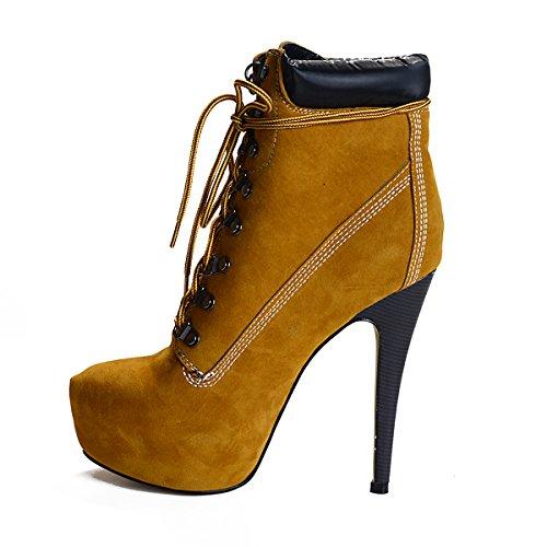 Onlymaker Damen Pumps Stiletto Stiefel High Heels Kurzschaft Stiefelette Boots Schuhe mit Plateau Gelb EU39 High Stiletto Heel