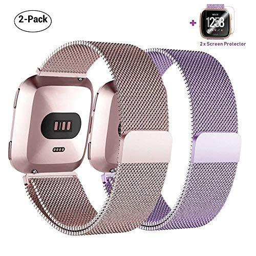 Preisvergleich Produktbild Für Fitbit Versa Armband mit Displayschutz Kleine 2 Pack,  COOLGOEU Luxus Milanese Edelstahl Handgelenk Ersatzband Armbänder mit Starkem Magnetverschluss für Fitbit Versa Special Edition(Roségold+Lila)