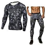 Tarnung Sportanzug Herren Enges Bodybuilding-T-Shirt Schnell trocknende Oberteilhose