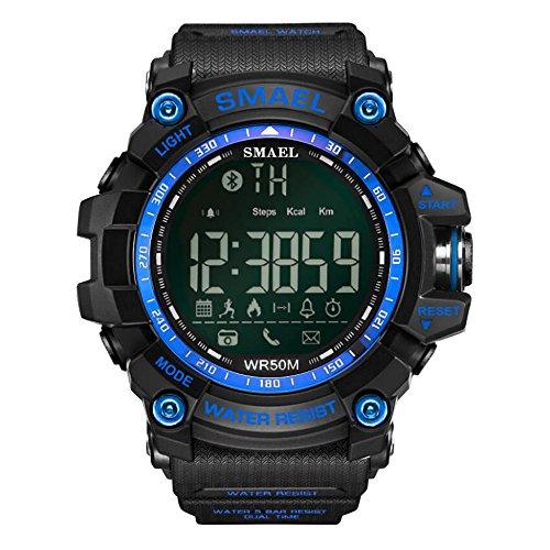 Smartwatch Bluetooth Sweatproof Telefon mit Kamerasteuerung für Android und IPhone Smartphones für Jungen Männer Frauen (Blau) (Smartphone Htc Entsperrt)