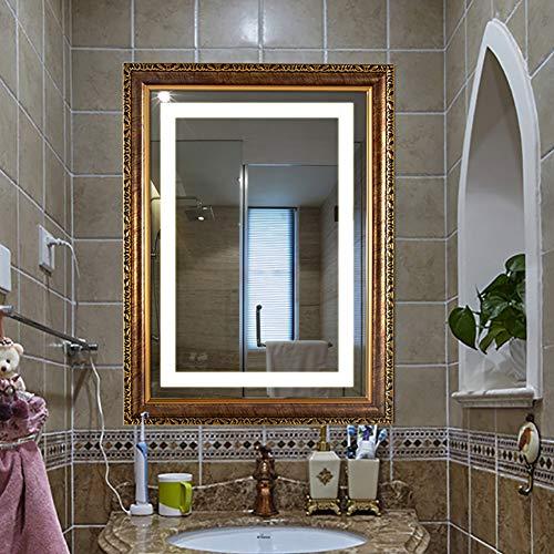 Touch Gerahmt (S-AIM Abgeschrägter Wandspiegel, gerahmt - LED-beleuchteter Kosmetikspiegel mit Touch-Taste (horizontal/vertikal))