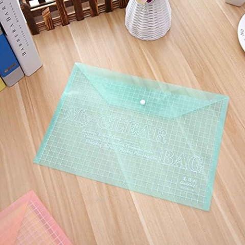 Babysbreath Transparent Grid Snap Button Sacs en papier PVC Papier Fichier Papeterie Papeterie Fournitures vert