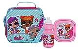 LOL Surprise! Dolls Girls scuola pranzo borsa set 3 pezzi - borsa con tracolla + porta sandwich + borraccia sportiva, rosa, Taglia unica