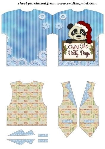 Sentiment Christmas Panda Tshirt And Waistcoat Card By Sharon Poore