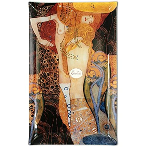 Carmani - Piastra rettangolare in vetro stampato con Klimt Acqua Snake - Snake Porcellana