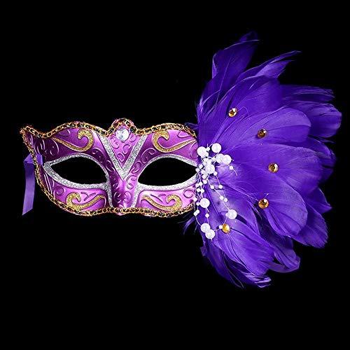Idollcg Neue Partei Maske Maskerade Halloween Farbe Ball Feder Maske Mode Männlich Weiblich Sexy Half Face Masked Mask Weihnachten (Color : Purple, Size : One Size)