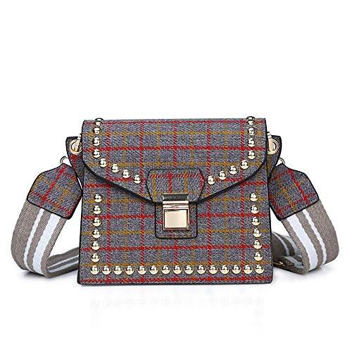 LYLb Plaid Tuch breiter Schultergurt eine Schulter Mode Niet schräg weibliche kleine quadratische Tasche (Farbe : D)