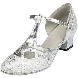 F & M piel sintética para mujer Mid tacón Salsa Tango salón de baile zapatos de baile latino Party CM101, color plateado