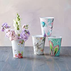 Paris Flea Market Fabrics 12 ounce Melamine Cups- Set of Four