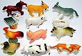 12 x trendy Farmtiere (Tiere auf dem Bauernhof) im Mix Spieltier Gummitier spielen+sammeln Mitbringsel 5256