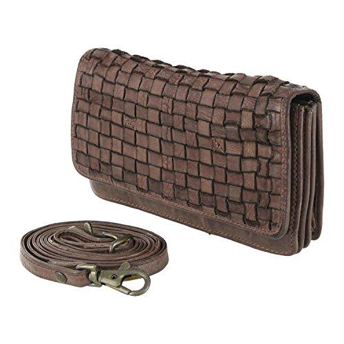 Bear Design Borsa a tracolla, portafoglio (17/ 10/ 3 cm) CL13995 intrecciato, in pelle lavata Marrone
