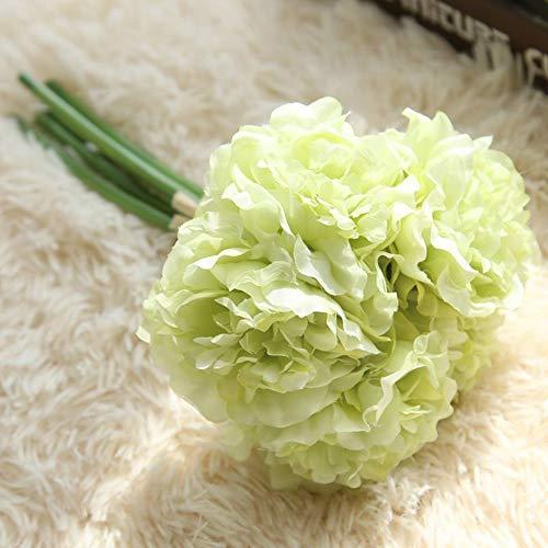 c3e9b46bbf3f5 FLORYDAY 5 Teste Mazzo Artificiali peonia Wedding Bouquet di Fiori Finti  Ortensia Decor (Verde)