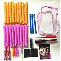 Shentian - Juego de 35 rodillos de pelo, rizadores mágicos, clip de partición, peine cilíndrico, regalo creativo, juego de herramientas de estilo, bolsa de lavado rizado
