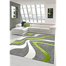Designer Teppich Moderner Wohnzimmer Kurzflor Mit Konturenschnitt Wellenmuster Grn Grau Weiss Grsse 80x150