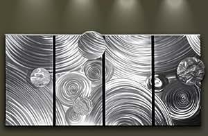 wanddeko wandbild metall abstrakt modern 4 teilig gro mirage. Black Bedroom Furniture Sets. Home Design Ideas