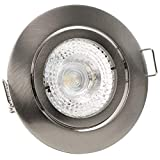 1er Set PREMIO Decken Einbaustrahler EDELSTAHL OPTIK 230V GU10 LED 3W Warm-W