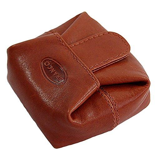 Branco kleines Geldsäckchen Mini Geldbörse Leder Münzbörse Minibörse Geldbeutel GoBago (Rot) Braun