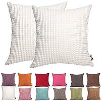 PLANDV Funda de Almohada monocromática Big Corn 2, Disponible en 19 Colores y 10 Tallas (45x45cm,Off White)