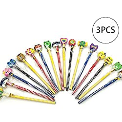 La novedad de dibujos animados del lápiz lápices de colores patrón con Suministros borrador de la escuela Oficina (color al azar) 3 piezas