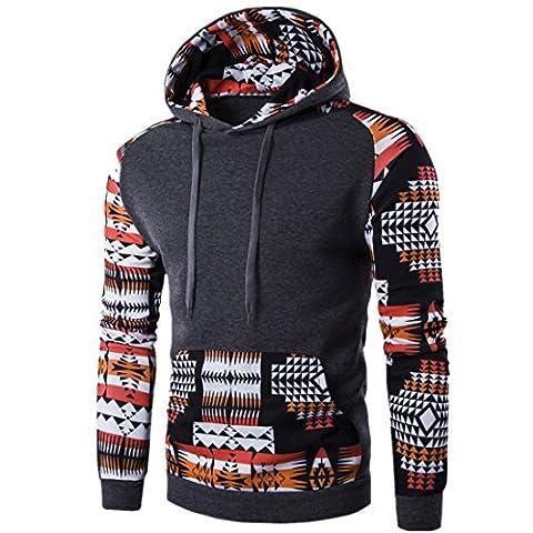 Sannysis Herren Retro Langarm Kapuzenpullover Kapuzenshirt mit Kapuze Sweatshirt Jacken Mantel (M,