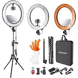 Neewer LED Ring Light Anneau Lumineux 18 Pouces avec Double Sabot, Miroir, Porte-Smartphone, Pied de Lumière, Tube Souple, Filtre Couleur pour Maquillage Beauté Portrait Vidéo (US/EU Prise)