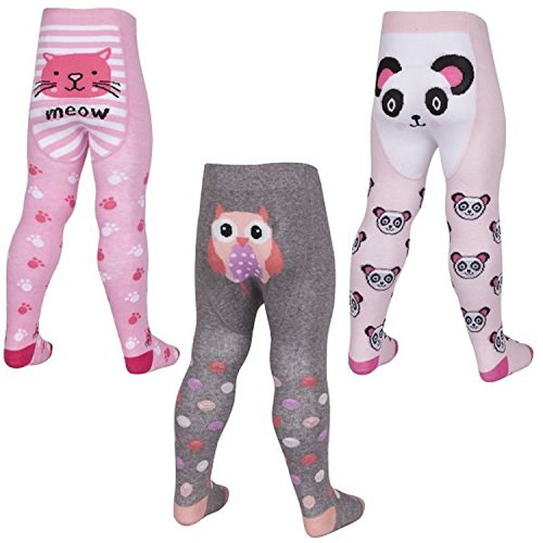 Baby Girls Cotton Rich Animal Print 3 Pack Tights